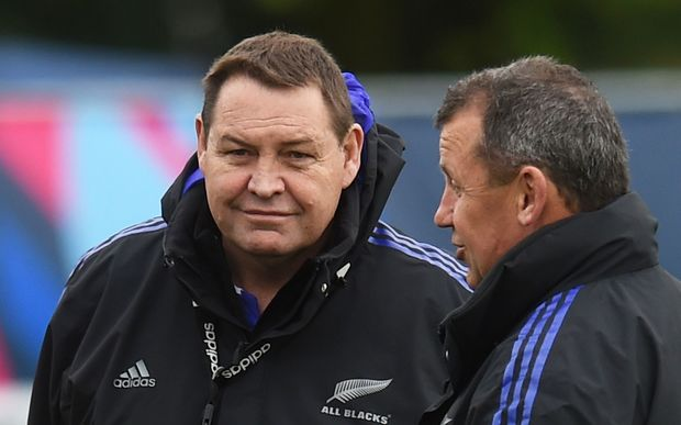 New Zealand coaches Steve Hansen and Ian Foster at All Blacks training at the Lensbury Hotel, Teddington, London. 2015 Rugby World Cup in England. Wednesday 16 September 2015. Copyright photo: Andrew Cornaga / www.photosport.nz