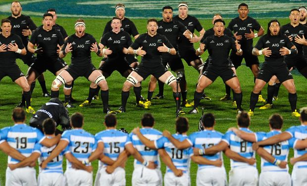 The All Blacks perform the Haka to Argentina, July, 2015.