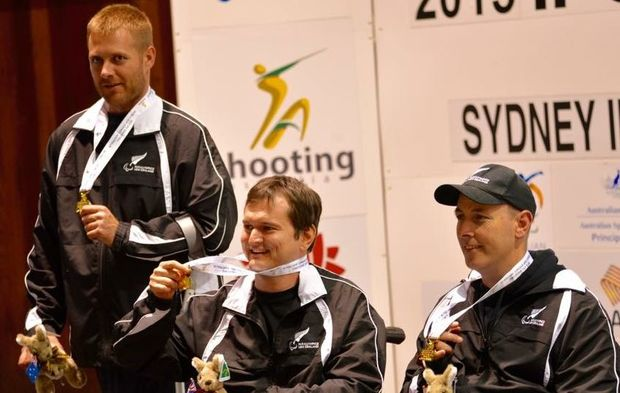 Phillip Skinner, Jason Eales, Michael Johnson win gold in the R5 at the IPC Shooting World Cup, 2015.