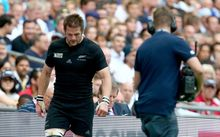 Richie McCaw heads to the sin bin during the Rugby World Cup match between New Zealand and Argentina.