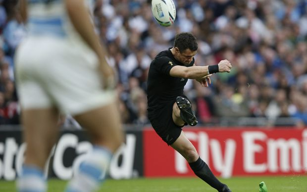 Dan Carter converts one of the All Blacks' tries during their first match of the Rugby World Cup against Argentina.