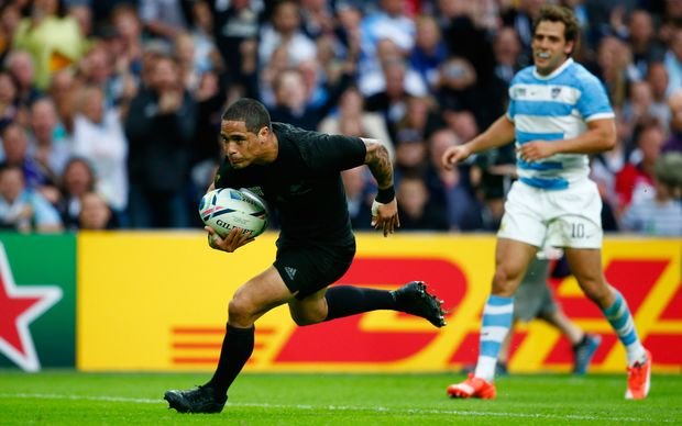 All Black halfback Aaron Smith goes over to score his try during the 2015 Rugby World Cup match between New Zealand and Argentina.