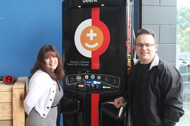 This is an image of Dee and Steve West and their www.charge.net.nz Tritium Veefil  fast charger