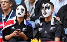 New Zealand fans at the game between the All Blacks and the Pumas.