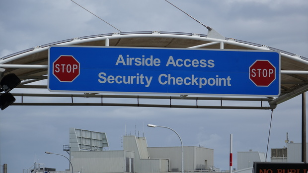 An airport security sign in Auckland