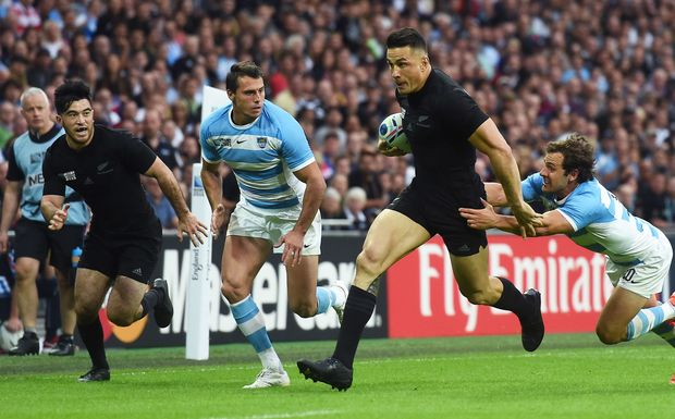Sonny Bill Williams and Nehe Milner-Skudder during the All Blacks v Argentina Rugby World Cup 2015 match at Wembley Sunday 20 Septebmer 2015. Copyright Photo: Andrew Cornaga / www.Photosport.nz