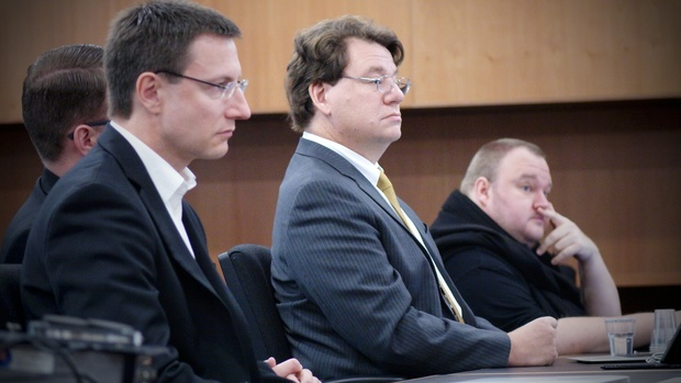 Kim Dotcom's US-based lawyer Ira Rothken (centre) in court as the main extradition hearing begins on 24 September 2014.
