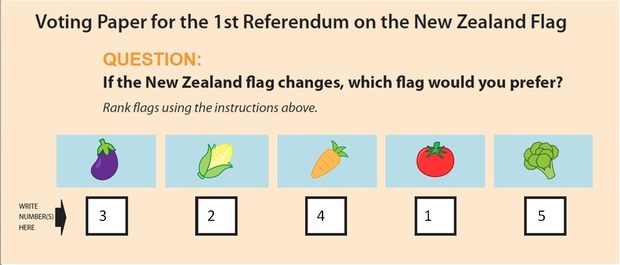 A mock ballot paper showing how the flag referendum ballot paper might look