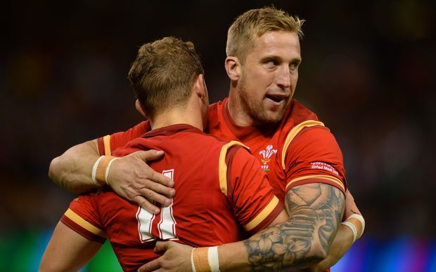 Hallam Amos and Dominic Day celebrate a Wales try RWC2015