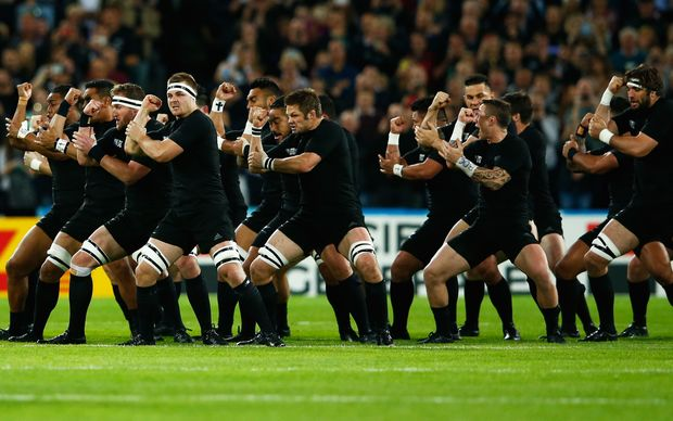 All Blacks perform the haka before their Rugby World Cup game against Namibia.