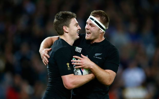 Beauden Barrett celebrates with Sam Cane after scoring his team's fourth try during the 2015 Rugby World Cup match between New Zealand and Namibia at the Olympic Stadium.
