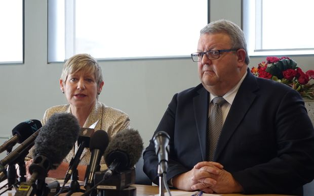 Christchurch mayor Lianne Dalziel  and Canterbury Earthquake Recovery Minister Gerry Brownlee at the announcement of the next phase in the rebuild of Christchurch.