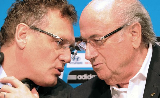 Sepp Joseph Blatter speaking with  Jerome Valcke in 2014.