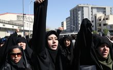 Iranian protestors shout slogans during a demonstration against Saudi Arabia following the stampede.