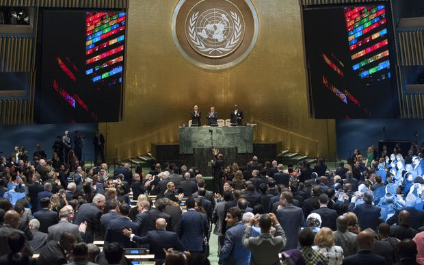 The United Nations General Assembly celebrate the adoption of the Sustainable Development Goals.