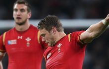 Wales' first-five Dan Biggar kicks a penalty in the win over England.