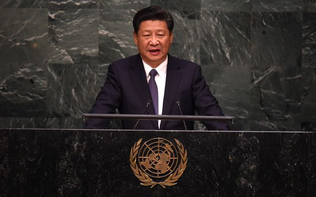 Xi Jinping speaks at the United Nations Sustainable Development Summit during the United Nations General Assembly in New York.
