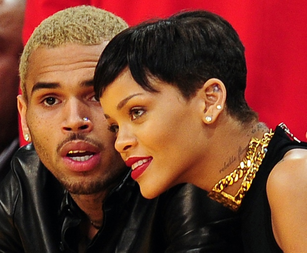 Rihanna and Chris Brown attending a basketball game in Los Angeles in 2012.