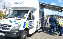 Officers at the launch of the first mobile police station in Upper Hutt this afternoon.