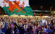 Wales fans react as they watch the England vs Wales game.