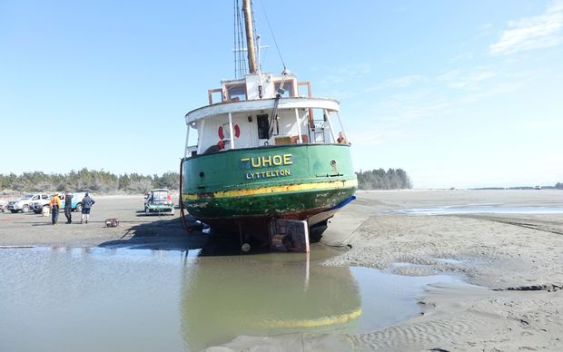 The Tuhoe grounded at the mouth of the Waimakariri River.