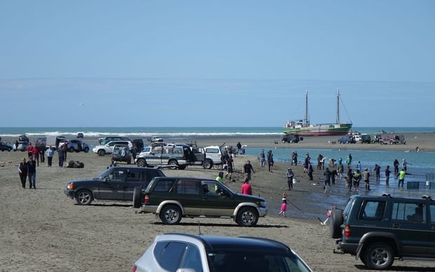 Crowds turned out to the scene of the stranding today.