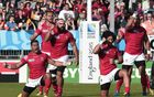 Tonga perform the Sipi Tau at the Rugby World Cup.