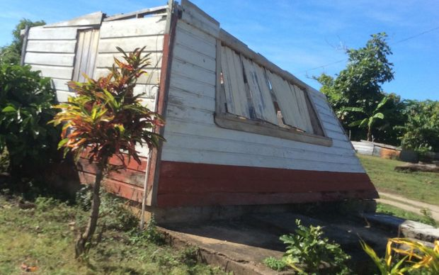 A damaged house on an island in Tonga's  Ha'apai group.