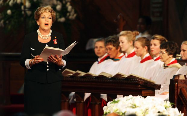 Dame Malvina Major sings at the State Funeral for Sir Edmund Hillary in 2008.