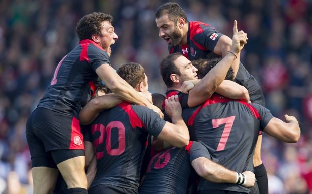 Georgia celebrate win over Tonga RWC2015
