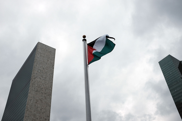 The Palestinian flag flies for the first time at the United Nations headquarters