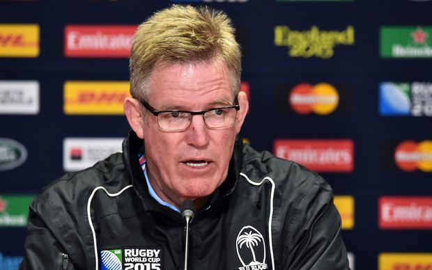 Fiji's head coach John McKee attends a press conference in Cardiff.