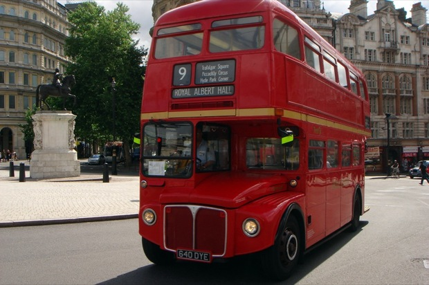 A red double-decker bus in London.