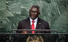 Solomon Islands Prime Minister, Manasseh Sogavare, speaking at the UN.