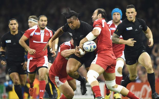 All Blacks wing Juian Savea in action against Georgia RWC2015