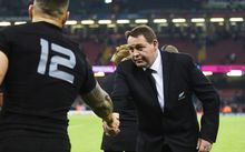 Steve Hansen shakes hands with Sonny Bill Williams after the New Zealand win over Georgia at Rugby World Cup 2015. Millennium Stadium in Cardiff, Wales, UK. Friday 2 October 2015. Copyright Photo: Andrew Cornaga / www.Photosport.nz