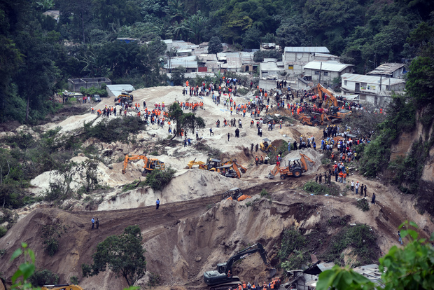 General view of the village of El Cambray II, in Santa Catarina Pinula municipality after a landslide