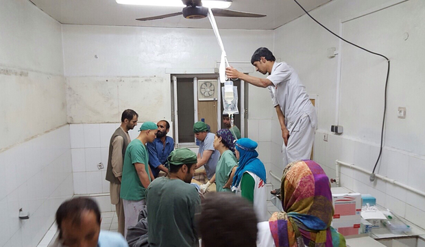 MSF released this photo showing surgeons working in an undamaged part of the hospital in Kunduz after the attack.