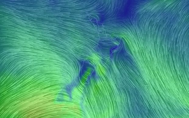 The wind flow over New Zealand is creating massive gusts towards the country's south-east coast.