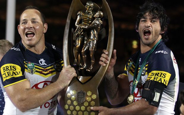Matthew Scott and Johnathan Thurston Cowboys co-captains with the trophy