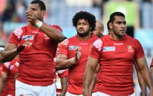 Tonga players thank the crowd following their Rugby World Cup defeat to Argentina.