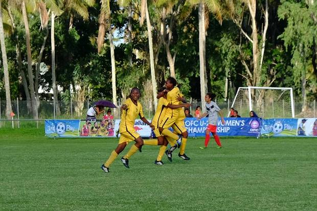 Vanuatu players celebrate a goal at the Oceania Under 20 Women's Football Championship.