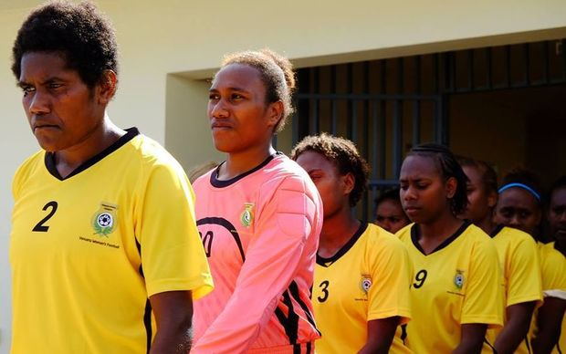 Vanuatu players line up at the Oceania Under 20 Women's Football Championship.