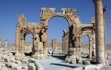 File picture, June 19, 2010 shows the Arch of Triumph among the Roman ruins of Palmyra, 220 kms northeast of the Syrian capital Damascus AFP PHOTO / FILES