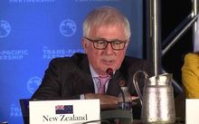Trade Minister Tim Groser speaks at a media conference announcing the TPP deal.