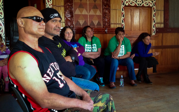 This is Frank (front left) at the Shed Meeting with the Meat Workers Union at the Taihoa Marae, Wairoa.