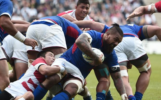 Manu Samoa loose forward Faifili Levave during the Rugby World Cup.
