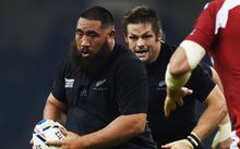 Charlie Faumuina on the charge against Georgia, supported by Richie McCaw
