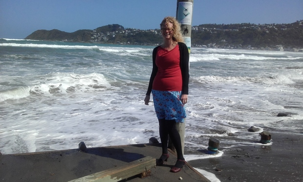 Wellington City Council urban ecology team leader Myfanwy Emeny at the Lyall Bay beach, where waves come right up to a car parking area.