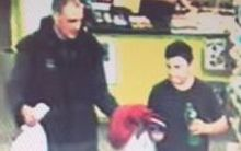The police have released CCTV footage showing the last confirmed sighting of Alex Fisher - pictured with his brother Eric at the Four Square store in Waitarere at about 6.15pm on Monday.
